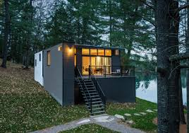 small cabin in the woods modern prefab cabin in quebec uses innovative wood panels
