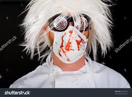 crazy doctor surgeon mask scrubs splattered stock photo 94014265