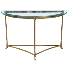 hollywood regency brass and glass demi lune console table