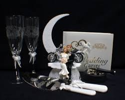 harley davidson wedding cake toppers lot glasses knife server book wedding cake topper w harley