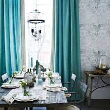 grey tones dining room with turquoise curtains turquoise