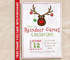 reindeer games party invitation printable invitation rustic