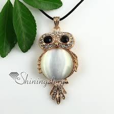 owl necklace pendants images Round owl rose quartz jade amethyst semi precious stone rhinestone jpg