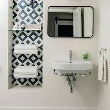 Recessed Bathroom Shelving Recessed Bathroom Shelves Navy Blue Pattern Tiles Recessed
