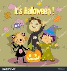 halloween kid cartoons halloween trick treat kids greeting card stock vector 83196316