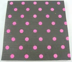 Party Cocktail Napkins - nice black with pink polka dot folding party paper napkins