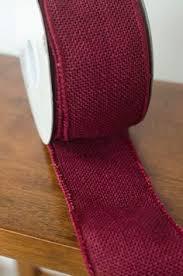 burgundy wired ribbon burlap wired ribbon 4 white polka dot three yards offray