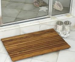 Teak Bathroom Mat Wood Shower Mat Give A Little Natural Accent To Your Bathroom