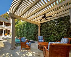patio wood patio covering ideas with striped padded chairs round