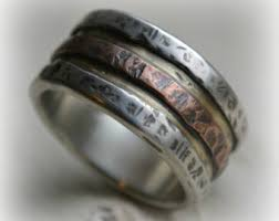 manly wedding bands mens wedding band oxidized silver and 14k daves