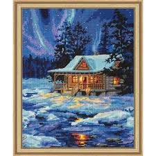 dimensions winter sky cabin needlepoint