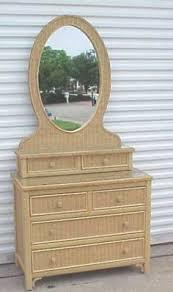 Henry Link Wicker Bedroom Furniture Henry Link White Wicker Glass Top Vanity Dresser With Oval Mirror