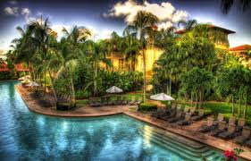 modern beautiful place colorful grass peaceful relax pool resort