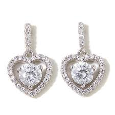 dangle earing absolute 1 28ctw cubic zirconia sterling silver framed heart
