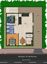 240 sq yds 45x48 sq ft south face house 2bhk floor plan for more