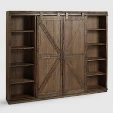 Wood Bookcase With Doors Wood Farmhouse Barn Door Bookcase World Market