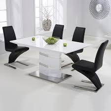 Harveys Armchairs Stenson High Gloss White Dining Table With 6 Harvey Black Chairs