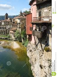 picturesque old european village with hanging houses stock photo
