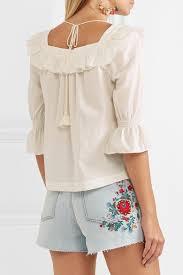 swiss dot blouse zoe henson ruffled swiss dot cotton blouse a porter com