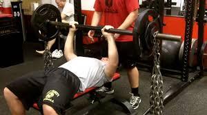 football strength training fat bar bench press w 80lbs chains