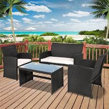 Faux Wicker Patio Sets Resin Wicker 4 Piece Outdoor Patio Furniture Set With White Padded