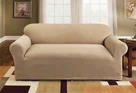 Sure Fit Stretch Pique Sofa Slipcover In Cream Box Style Seat