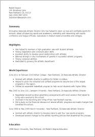 athletic resume professional associate athletic director templates to showcase