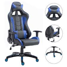 Blue Leather Executive Office Chair Costway High Back Executive Racing Reclining Gaming Chair Swivel
