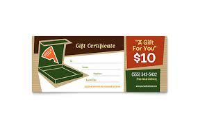pizza pizzeria restaurant gift certificate template design