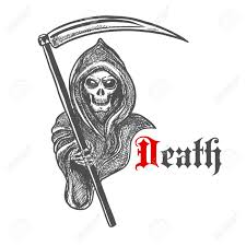 Skeleton For Halloween by Spooky Death Skeleton In Hooded Cape Cloak With Scythe Sketched