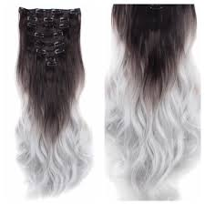 silver hair extensions brown to silver ombre clip in hair extensions remy human hair