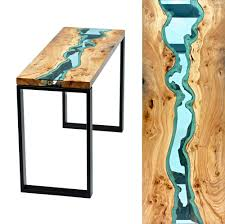 Coffee Table Glass by Table Topography Wood Furniture Embedded With Glass Rivers And