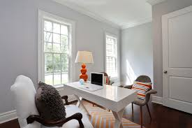 Desk Molding Contemporary Home Office With Hardwood Floors U0026 High Ceiling
