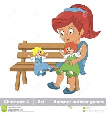 one young red hair in blue dress play with her toy doll on