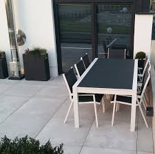 8 Seater Patio Table And Chairs Garden Table Set Violet White Grey 8 Person Aluminium Glass