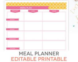 meal planner printable set editable weekly menu plan recipe