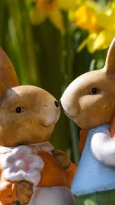 download wallpaper 1440x2560 easter bunny rabbits flowers qhd