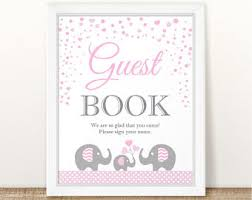 baby shower sign in book printable elephant baby shower gift table sign elephant