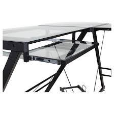 Glass L Shaped Computer Desk by Onespace 50 Jn110500 Ultramodern Glass L Shape Desk Black And