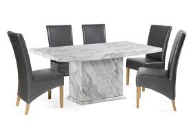 grey marble dining table calacatta 160cm marble effect dining table with 6 cannes grey chairs