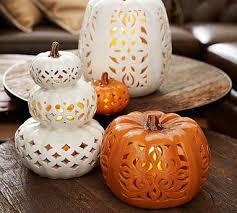 ceramic pumpkins punched ceramic pumpkins mini orange filigree pottery barn