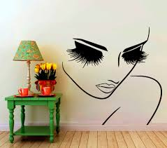 eye decal etsy wall decals hairdressing hair beauty salon decal vinyl sticker woman long lashes closeup makeup home decor