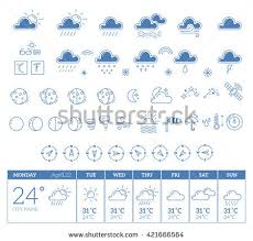 weather forecast outline web icon set stock vector 692400139