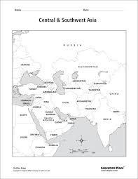 central u0026 southwest asia labeled map 6th 12th grade worksheet