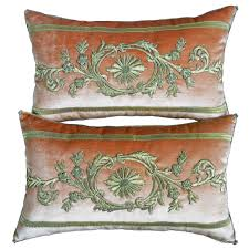 Callisto Home Pillows by Antique Ottoman Empire Raised Gold Metallic Embroidery Pillows
