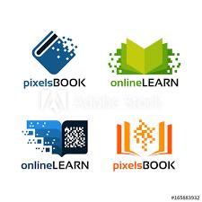 design online education set of online education logo template pixel book education logo