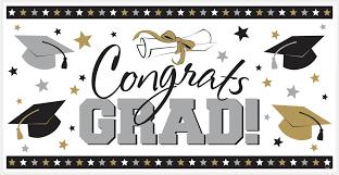 black silver and gold congrats grad banner 2 order