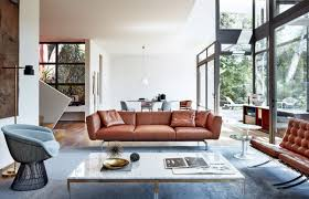 Decorating With Brown Leather Sofa Living Room Brown Shag Rug Low Table Brown Leather