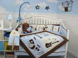 Rock N Roll Crib Bedding Soho Blue And Brown Rock Band Baby Crib Nursery
