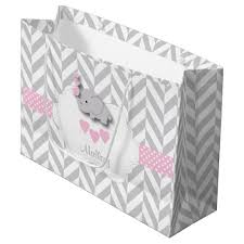 large gift bags baby pink elephant design baby girl shower large gift bag